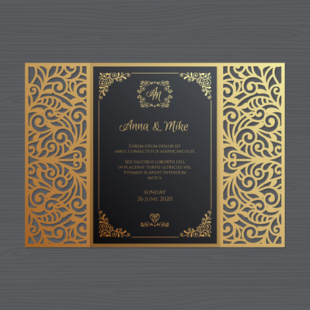 Luxury wedding invitation or greeting card with vintage floral ornament. Paper lace envelope template. Wedding invitation envelope mock-up for laser cutting. Vector illustration. Иллюстрация