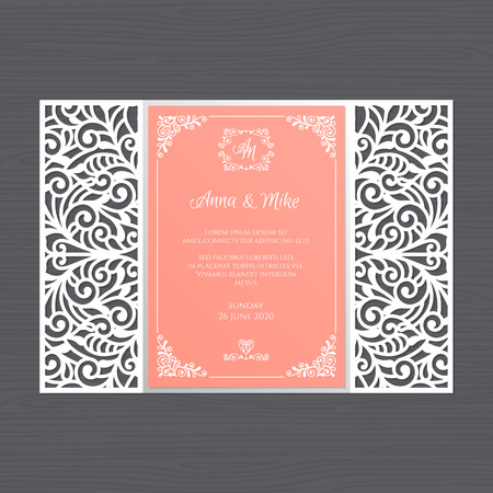 Luxury wedding invitation or greeting card with vintage floral ornament. Paper lace envelope template. Wedding invitation envelope mock-up for laser cutting. Vector illustration. Ilustração