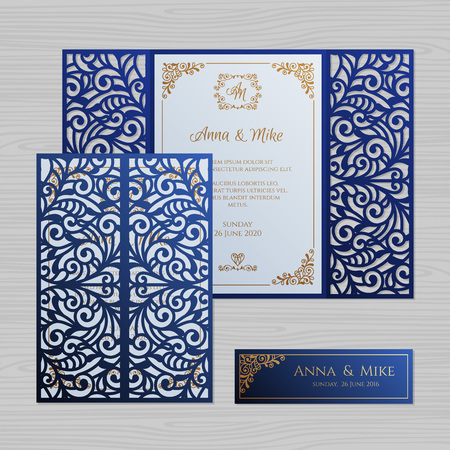 Luxury wedding invitation or greeting card with vintage floral ornament. Paper lace envelope template. Wedding invitation envelope mock-up for laser cutting. Vector illustration. Stock fotó - 112177398