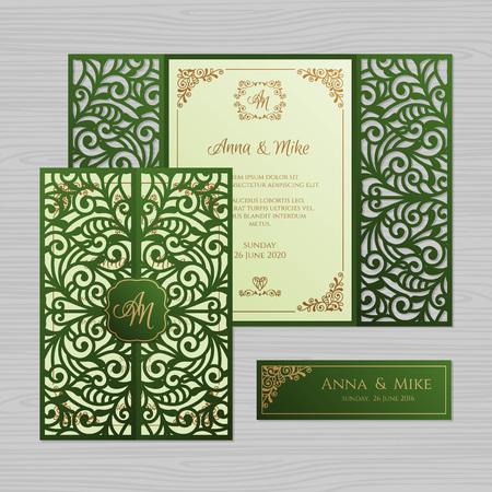 Luxury wedding invitation or greeting card with vintage floral ornament. Paper lace envelope template. Wedding invitation envelope mock-up for laser cutting. Vector illustration. Illusztráció