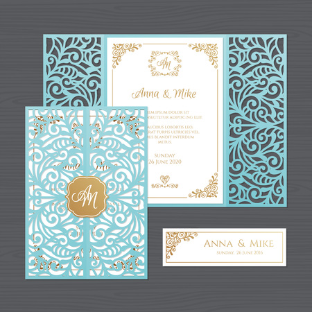 Luxury wedding invitation or greeting card with vintage floral ornament. Paper lace envelope template. Wedding invitation envelope mock-up for laser cutting. Vector illustration. Illusztráció