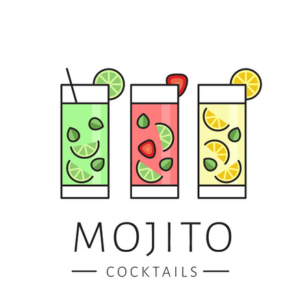 Glass of cocktail mojito on white background. Ð¡lassic mojito, strawberry mojito, lemonade. Flat design style, vector illustration.
