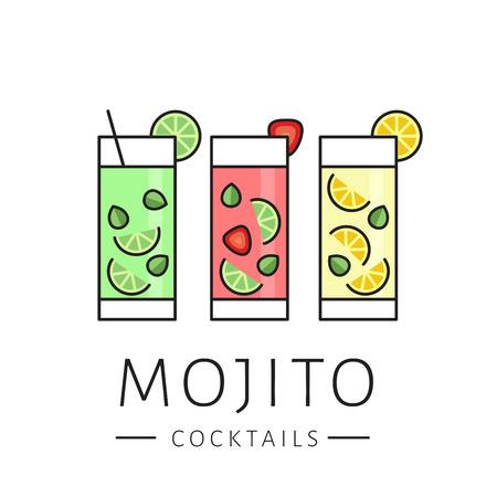 Glass of cocktail mojito on white background. Сlassic mojito, strawberry mojito, lemonade. Flat design style, vector illustration. 矢量图像