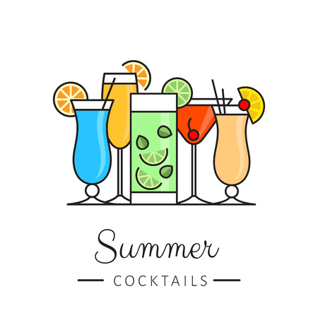 Cocktail party. Cocktail bar logotype. Flat design style, vector illustration.