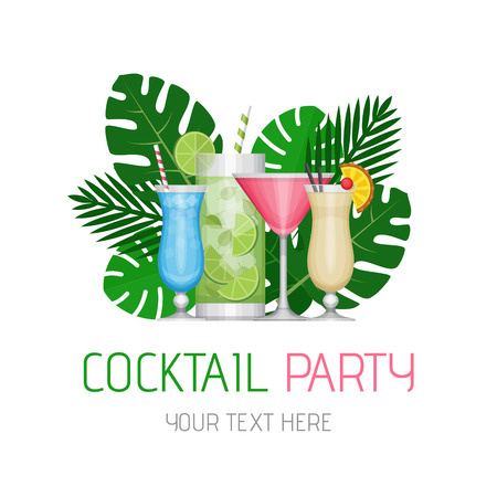 Summer tropical cocktail with palm leaves. Cocktail party poster or invitation to beach party. Flat style, vector illustration.