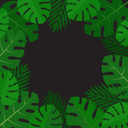Palm leaves background. Aloha print. Palm tree tropical pattern. Flat style, vector illustration. Stock fotó - 112177401