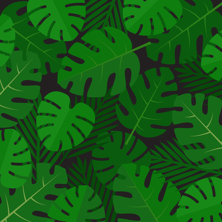 Palm leaves background. Aloha print. Palm tree tropical pattern. Flat style, vector illustration. Stock fotó - 112177402