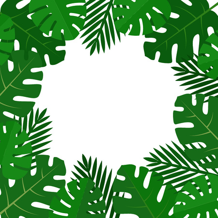 Palm leaves background. Aloha print. Palm tree tropical pattern. Flat style, vector illustration.
