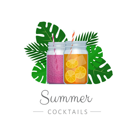 Smoothie mason glass jar with tropical palm leaves. Healthy fitness cocktail. Summer tropical cocktail.  Flat style, vector illustration.