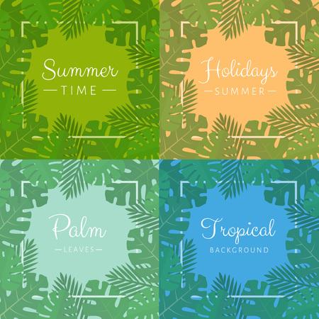 Palm leaves background set. Aloha print. Palm tree tropical pattern. Flat style, vector illustration. Illusztráció