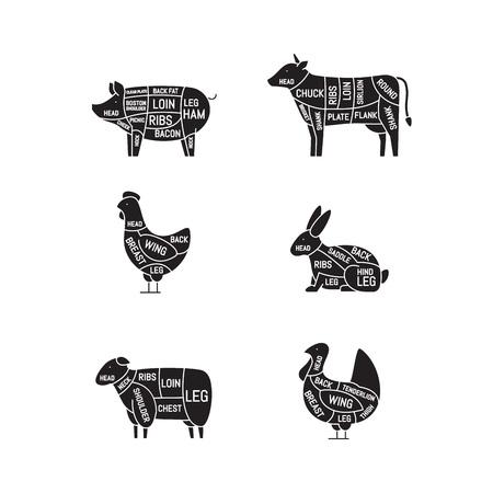 Diagrams for butcher shop. Meat cuts. Animal silhouette, pig, cow, lamb, chicken, turkey, rabbit. Vector illustration. Illusztráció