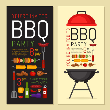 Bbq party invitation with grill and food. Barbecue poster. Food flyer. Flat style, vector illustration. Illusztráció