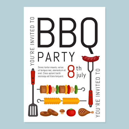 Bbq party invitation with grill and food. Barbecue poster. Food flyer. Flat style, vector illustration. Imagens - 112127129