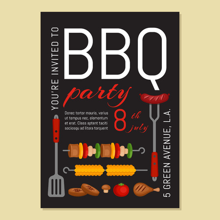Bbq party invitation with grill and food. Barbecue poster. Food flyer. Flat style, vector illustration. Çizim