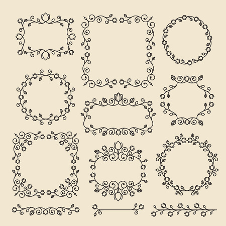 Vintage ornaments and dividers. Design elements set. Ornate floral frames and banners. Vector graphic elements for design.