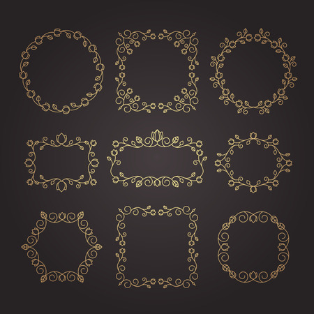 Vintage ornaments and dividers. Design elements set. Ornate floral frames and banners. Vector graphic elements for design. Imagens - 110170647