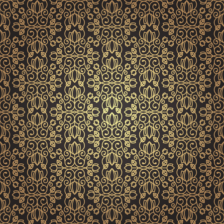 Seamless floral background in vintage style. Luxury pattern black and gold. Vector. Imagens - 110170648