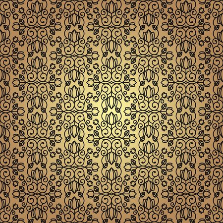 Seamless floral background in vintage style. Luxury pattern black and gold. Vector. Çizim