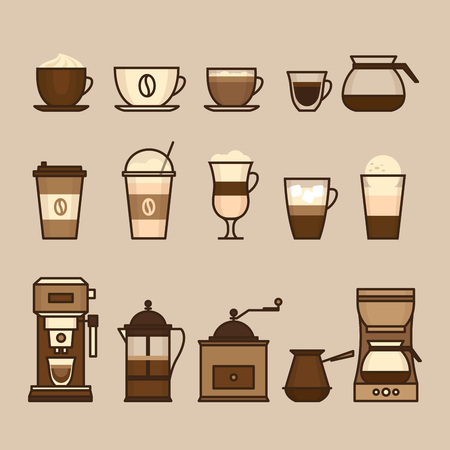Coffee objects and equipment. Cup and coffee brewing methods. Coffee makers and coffee machines, kettle, french press, moka pot, cezve. Flat style, vector illustration. Imagens - 124528872