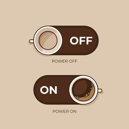 Coffee concept. Coffee and on off switch. Flat style, vector illustration. Иллюстрация