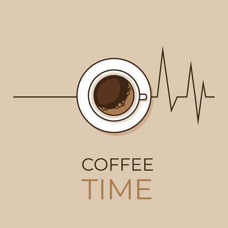 Coffee concept. Coffee and heartbeat  poster. Flat style, vector illustration. Imagens - 124528878