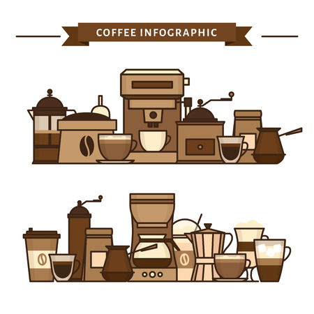 Coffee objects and equipment. Cup and coffee brewing methods. Coffee makers and coffee machines, kettle, french press, moka pot, cezve. Flat style, vector illustration. Imagens - 124528883