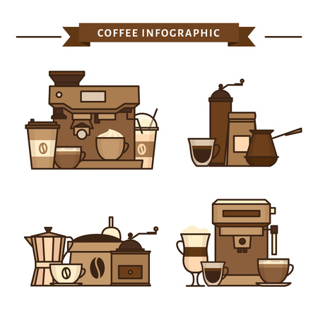 Coffee objects and equipment. Cup and coffee brewing methods. Coffee makers and coffee machines, kettle, french press, moka pot, cezve. Flat style, vector illustration. Stock fotó - 124528884