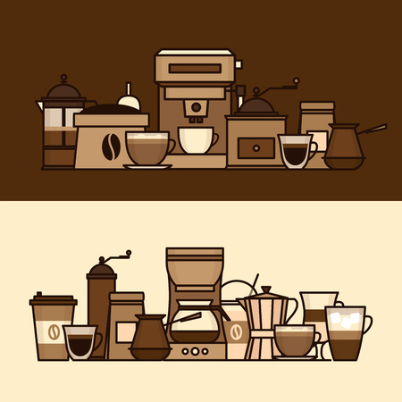 Coffee objects and equipment. Cup and coffee brewing methods. Coffee makers and coffee machines, kettle, french press, moka pot, cezve. Flat style, vector illustration. Stock fotó - 124528890