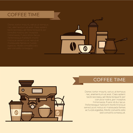 Coffee objects and equipment. Cup and coffee brewing methods. Coffee makers and coffee machines, kettle, french press, moka pot, cezve. Flat style, vector illustration. Stock fotó - 124528891