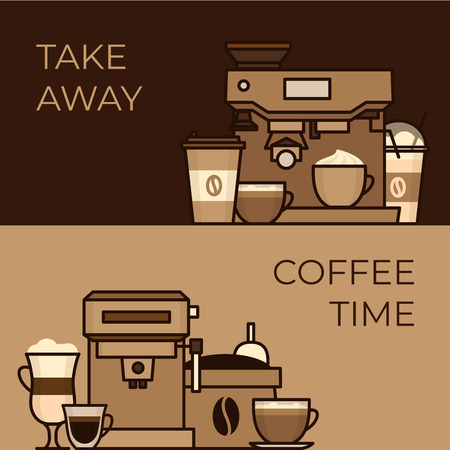 Coffee objects and equipment. Cup and coffee brewing methods. Coffee makers and coffee machines, kettle, french press, moka pot, cezve. Flat style, vector illustration. Stock fotó - 124528893