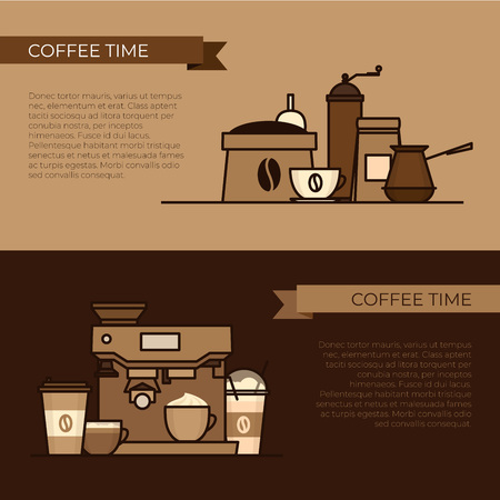 Coffee objects and equipment. Cup and coffee brewing methods. Coffee makers and coffee machines, kettle, french press, moka pot, cezve. Flat style, vector illustration. Imagens - 124528894