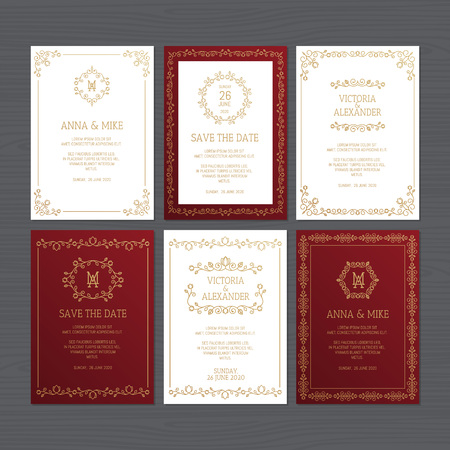 Luxury wedding invitation or greeting card set with floral ornament. Vector illustration. Stock fotó - 124528895