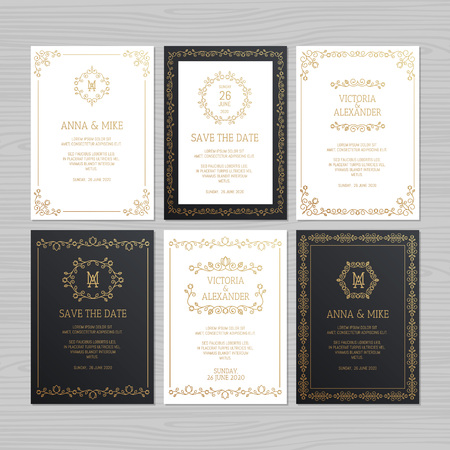 Invitación de boda de lujo o tarjeta de felicitación con adornos florales. Ilustración de vector.