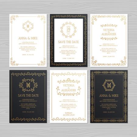 Luxuriöse Hochzeitseinladung oder Grußkarte mit floralem Ornament. Vektor-Illustration.