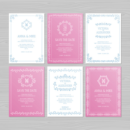 Luxury wedding invitation or greeting card set with floral ornament. Vector illustration. Stock fotó - 124528943