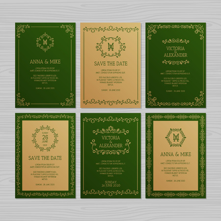 Luxury wedding invitation or greeting card set with floral ornament. Vector illustration. Imagens - 124528944