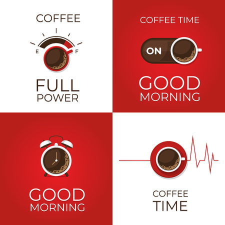 Coffee concept set. Coffee and on off switch, heartbeat, coffee power, alarm clock poster. Flat style, vector illustration.