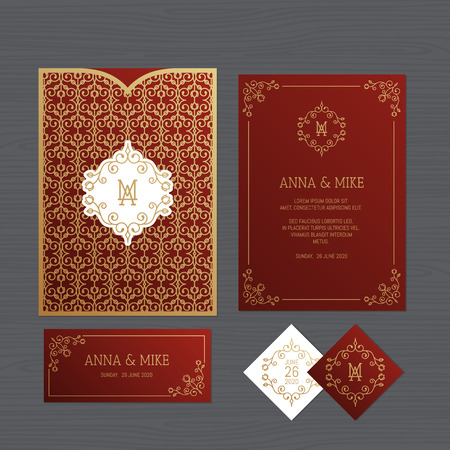 Wedding invitation or greeting card with vintage ornament. Paper lace envelope template. Wedding invitation envelope mock-up for laser cutting. Vector illustration. Иллюстрация