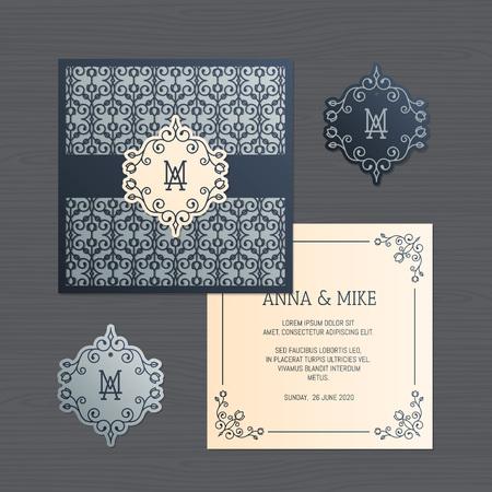 Invitación de boda o tarjeta de felicitación con adornos vintage. Plantilla de sobre de encaje de papel. Maqueta de sobre de invitación de boda para corte por láser. Ilustración vectorial Ilustración de vector