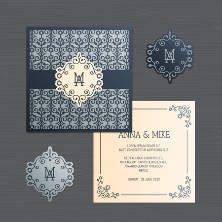 Wedding invitation or greeting card with vintage ornament. Paper lace envelope template. Wedding invitation envelope mock-up for laser cutting. Vector illustration. Illusztráció