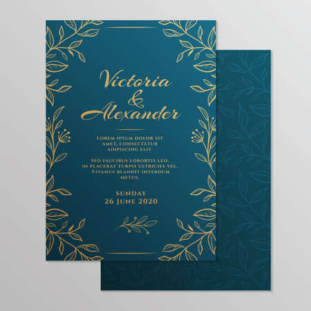 Wedding invitation card with floral ornament. Botanical gold ornament. Vector illustration. 向量圖像