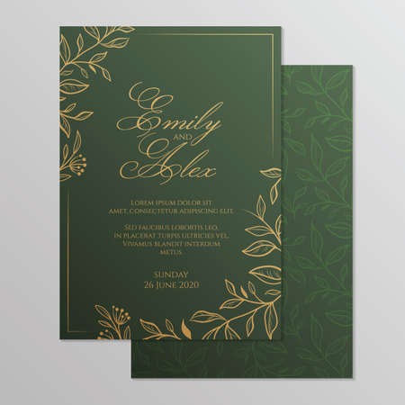 Wedding invitation card with floral ornament. Botanical gold ornament. Vector illustration. Illusztráció