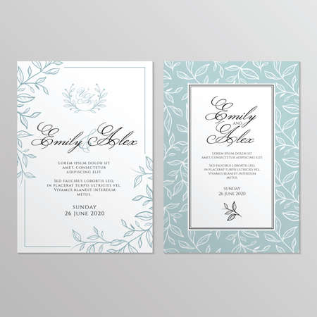 Wedding invitation card with floral ornament. Botanical gold ornament. Vector illustration. Stock fotó - 155567370