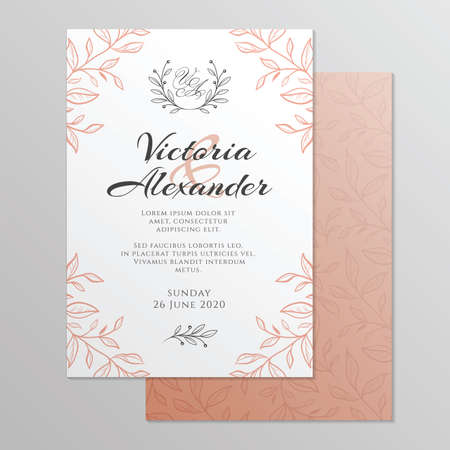 Wedding invitation card with floral ornament. Botanical gold ornament. Vector illustration. Stock fotó - 155567324