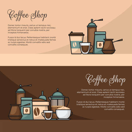 Coffee banner. Cup and coffee brewing methods. Coffee makers and coffee machines, kettle, french press, moka pot, cezve. Flat style, vector illustration.