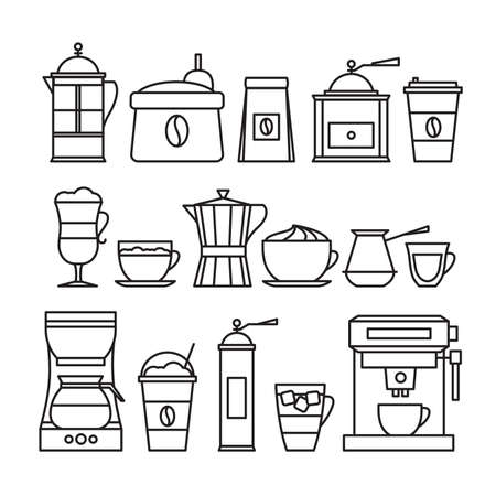 Coffee infographic. Coffee line icon set. Flat style, vector illustration. 向量圖像