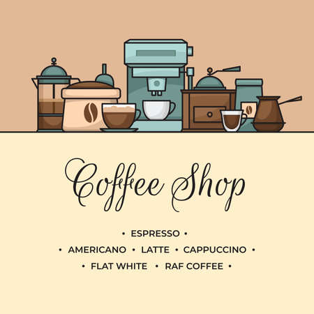Coffee banner. Cup and coffee brewing methods. Coffee makers and coffee machines, kettle, french press, moka pot, cezve. Flat style, vector illustration. Stock fotó - 155793902