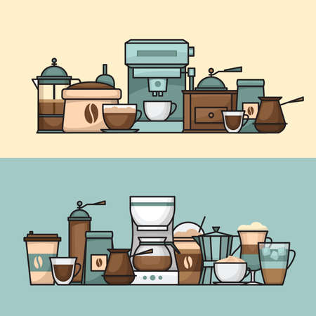 Coffee banner. Cup and coffee brewing methods. Coffee makers and coffee machines, kettle, french press, moka pot, cezve. Flat style, vector illustration. Stock fotó - 155793379