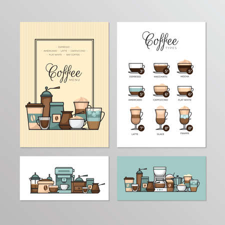 Coffee shop menu. Types of coffee. Infographic and banner. Flat style, vector illustration.