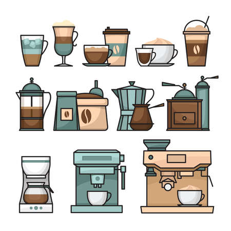Coffee infographic. Coffee icon set. Flat style, vector illustration.